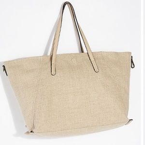Free People Reversible Linen Tote in Taupe